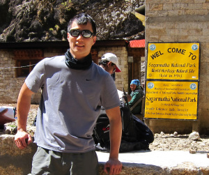 Mike at Entrance of Sagarmatha National Park on the way up to Everest Base Camp