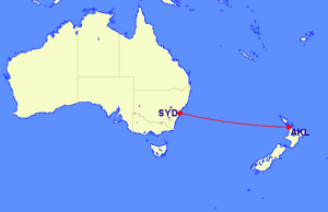 One-way from AKL to SYD flight path