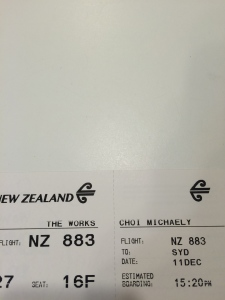 "Air New Zealand Boarding pass with the ""THE WORKS"""