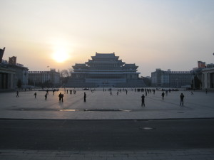 Kim Il-sung Square At Sunset In Pyongyang