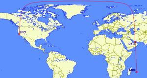 Routing from Mauritius to San Francisco via Dubai on Emirates