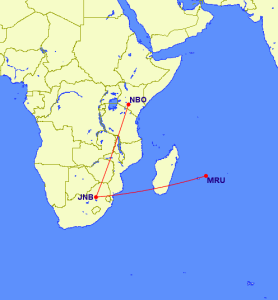Flight path from Nairobi to Mauritius via Johannesburg