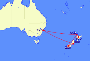 Routing from Australia to New Zealand