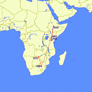 Flight routing from Victoria Fall to Kilimanjaro