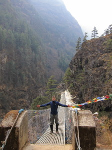 Standing on the suspension bridge on the Everest Base Camp