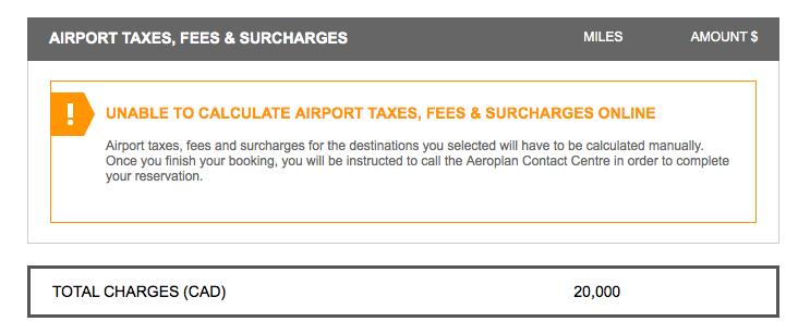 Aeroplan $0 taxes/fees
