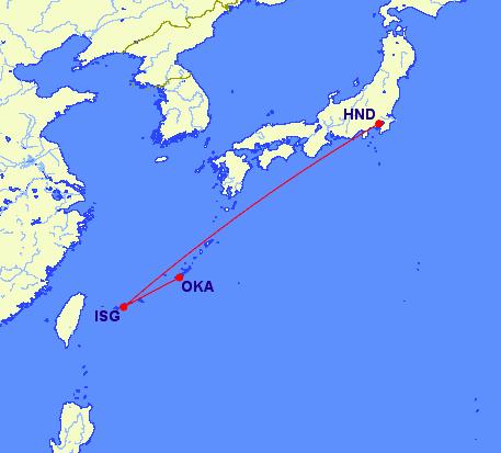 Tokyo to Ishigaki to Okinawa routing on ANA