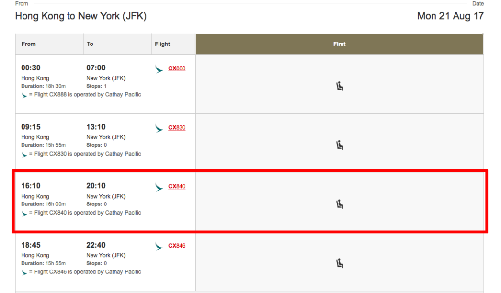 Qantas showing availability of Cathay Pacific First class seats